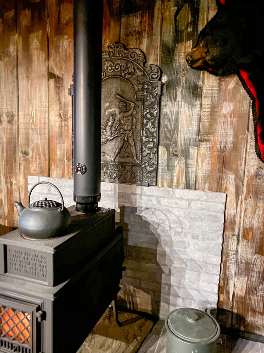 Decorated, unused fireplace