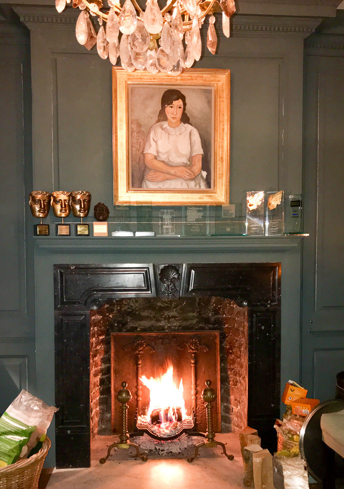 Fireplace with different style fireplace accessories