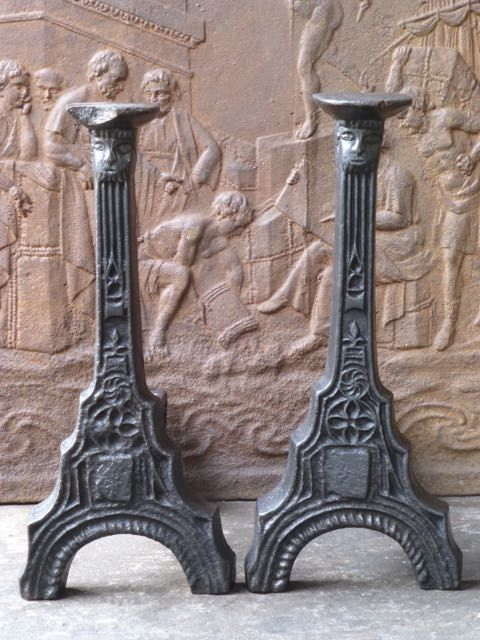 Gothic fireplace andirons
