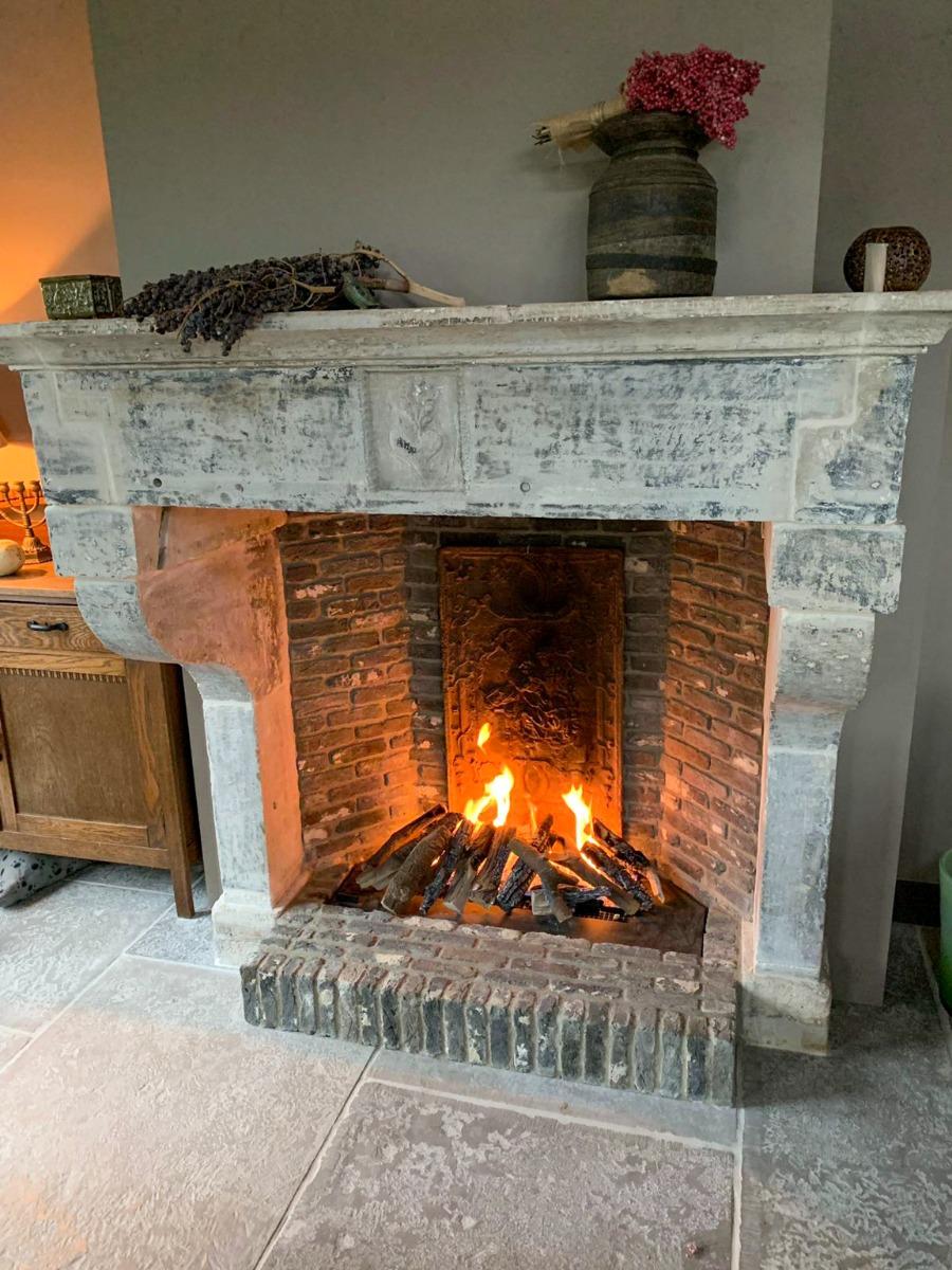 Fireplace fireback and andirons in Amstelveen, Netherlands from https://www.firebacks.net